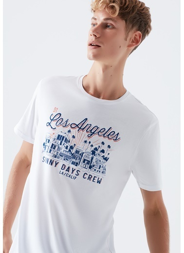 Mavi Los Angeles Baskılı  Tişört Beyaz